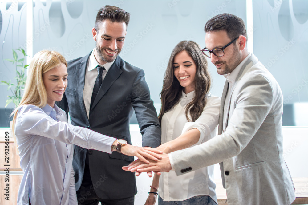 Fototapeta Business team join hands together in office