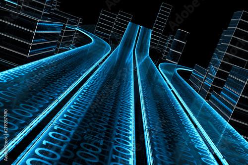 Pinturas sobre lienzo  3D Datenautobahn von schräg dynamisch