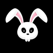 Skull Rabbit Cartoon. Hallowleen Concept Design. Vector Illustration Isolated On Black Background.