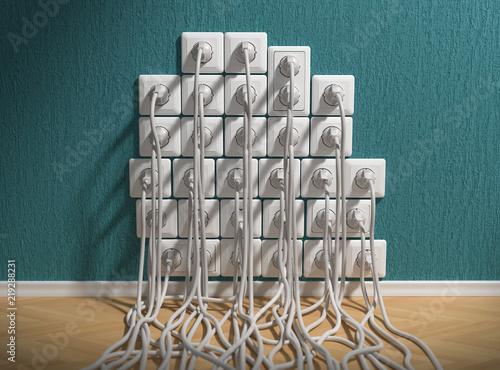 Valokuva  3D Steckdosen Kabelsalat