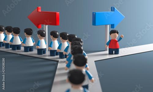 Fotografia, Obraz 3D Weg eigne Entscheidungsfreiheit