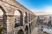 The Famous Roman Aqueduct Of Segovia With More Than 2000 Years Of Antiquity