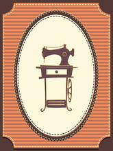 Vintage Sewing Machine Illustr...