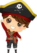 Pirate Kid Boy Costume Point Up Illustration