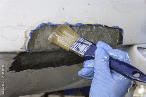 Polyester boat repair Canvas Print