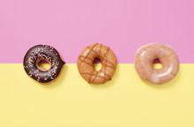 Three Donuts (doughnuts) On A ...