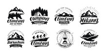 Camping, Climbing Logo Or Label. Hiking Trip, Hike Set Of Icons. Lettering Vector