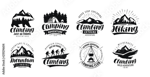 Foto Camping, climbing logo or label
