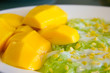 Thai dessert, Mango with sticky rice, Selective focus and shallow depth of field.