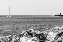 Catamaran Cruise Sailing Along The Coastline Of Montego Bay, Jamaica.