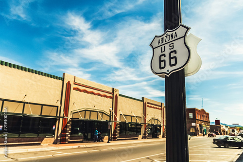 Aluminium Prints Route 66 Street or road sign historic route or highway 66 in Williams, Arizona, USA. Copy space.