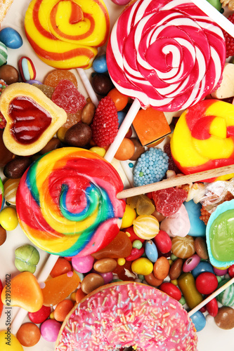 Aluminium Prints Candy candies with jelly and sugar. colorful array of different childs sweets and treats.