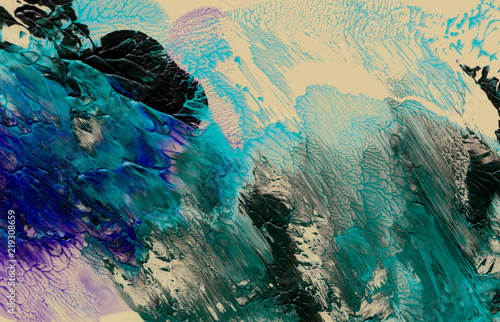 Abstract acrylic and watercolor brush strokes painted background.