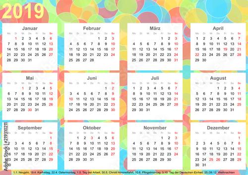 kalender 2019 hintergrund mit bunten kreisen jeder monat. Black Bedroom Furniture Sets. Home Design Ideas