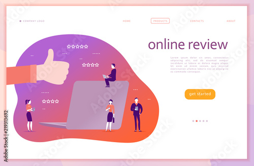 Vector web page concept design with online review theme Canvas Print