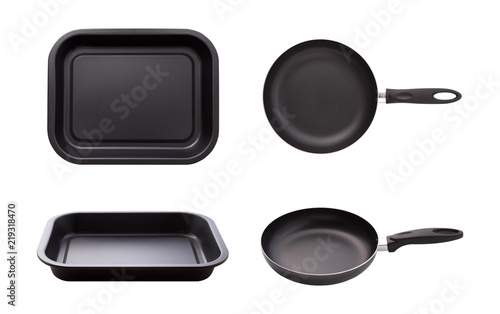 Empty pan and tpay isolated on white. Flat mock up for design. Top view.