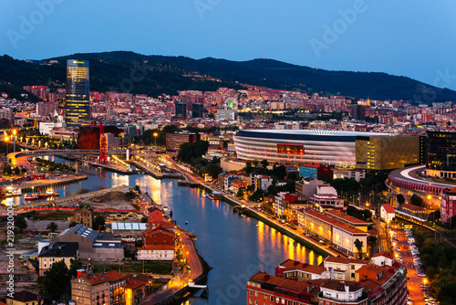 Fototapeta  City of Bilbao at night, Basque Country, Spain