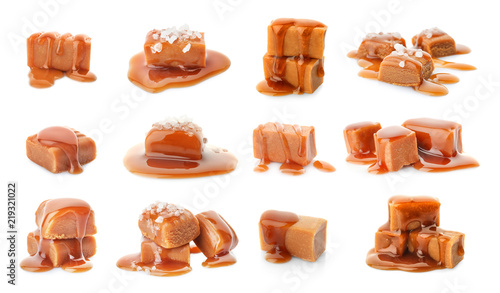 Pinturas sobre lienzo  Set with delicious caramel candies and sauce on white background