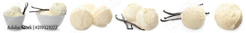 Fotografie, Obraz  Set with vanilla pods and ice cream on white background