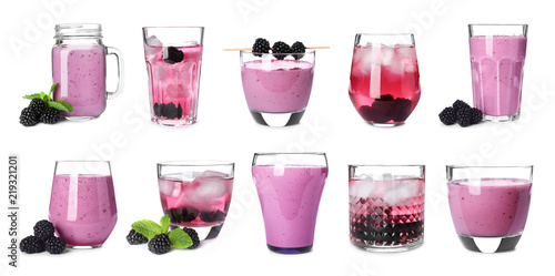 Set with different blackberry drinks on white background