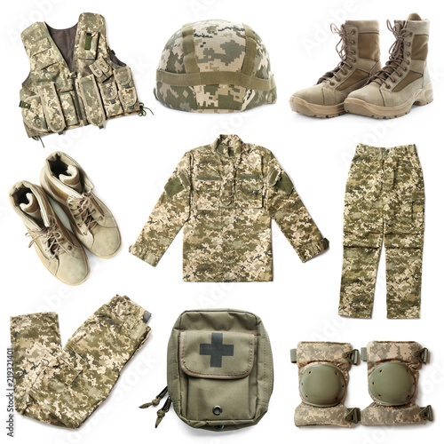 Set with military uniform on white background Canvas-taulu