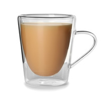 Glass Cup With Black Tea And Milk On White Background
