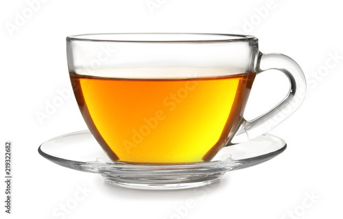 Tuinposter Thee Glass cup with black tea on white background