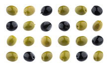 Black And Green Olives Isolated On White Background