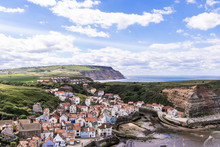 A View Of The North Yorkshire UK Villages Of Staithes And Cowbar, Seen Here From From Penny Nab Headland.