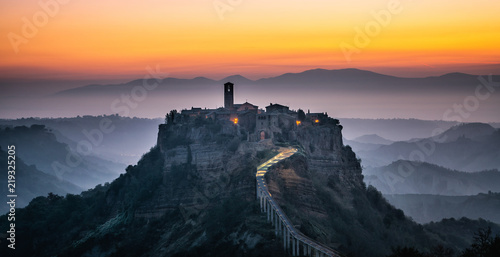 Poster Con. Antique Civita di Bagnoregio, beautiful old town in Italy.