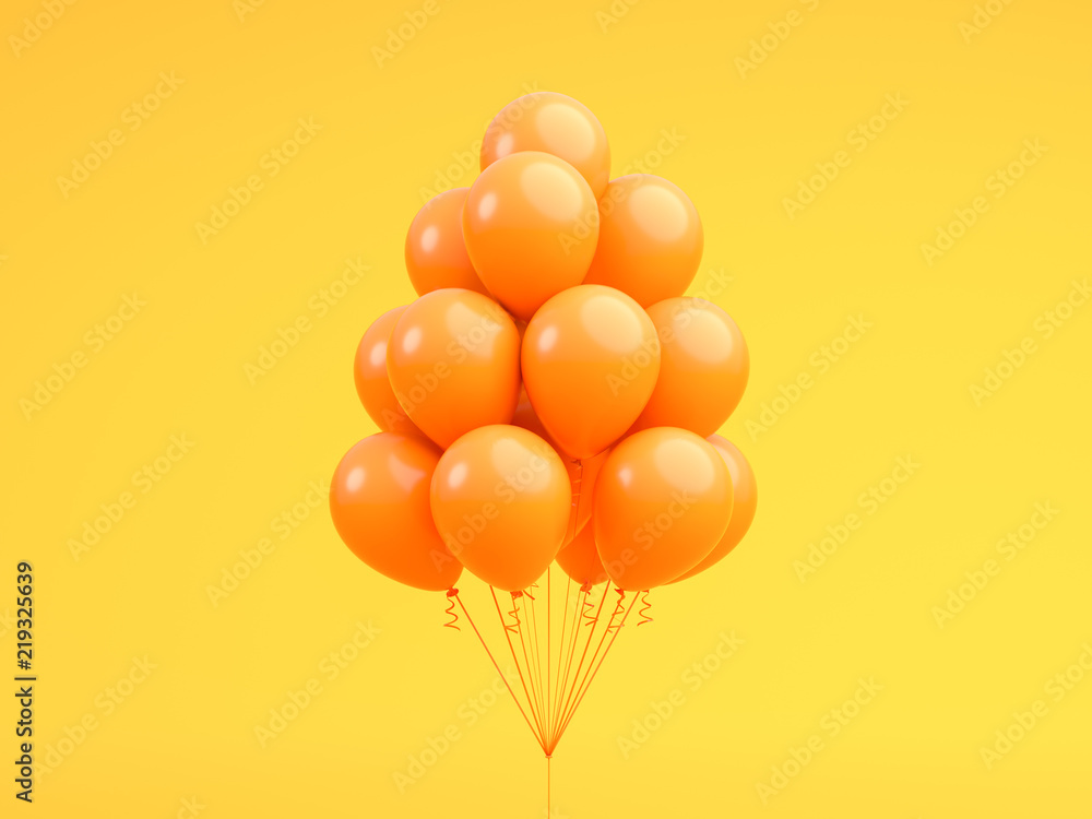 Fototapeta Orange balloons floating in Orange . pastel background room studio. minimal idea creative concept. 3d render