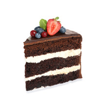 Slice Of Chocolate Sponge Cake With Berries On White Background