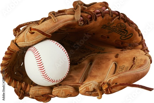 Fotografie, Obraz Baseball glove with a ball in it - isolated image