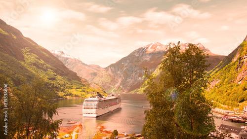 Foto auf Leinwand Skandinavien Cruise ship in Norwegian fjords