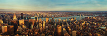 Panorama Of New York City At Sunset. Aerial View.