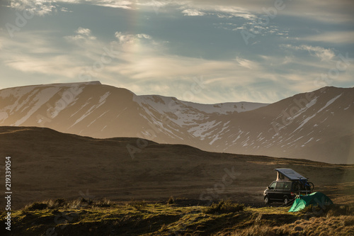 Highlands of Scotland - someone found a lovely spot for tonight - camper and a t Canvas Print