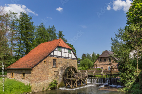 Canvas Print Watermill in the historic city of Lemgo, Germany