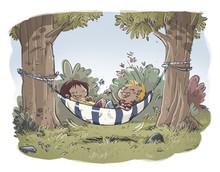 Niños En Una Hamaca En El Bosque