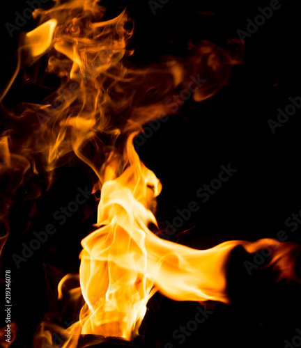 Photo Stands Fire / Flame Flame of fire with sparks on a black background