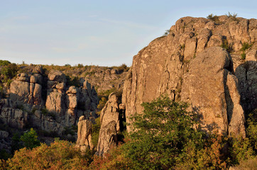 View of granite Aktovo canyon (devil's valley) with beautiful stone fingers (pillars),created by Mertvovod river,natural wonder of Ukraine