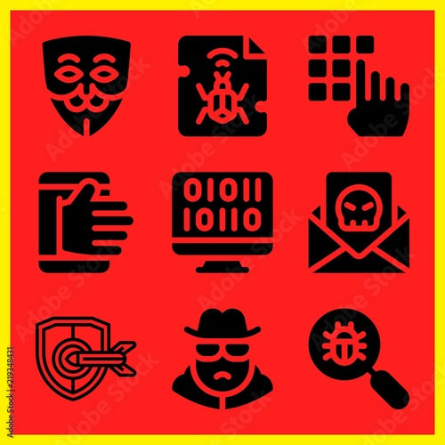 simple 9 icon set of hacker related hacking spy security and spam vector icons collection illustration buy this stock vector and explore similar vectors at adobe stock adobe stock fotolia com
