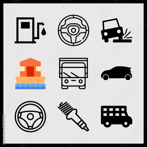 Simple 9 Icon Set Of Car Related House Boat Bus Spark Plug And