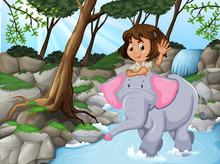 Girl Riding Elephant Jungle Sc...