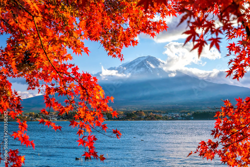 Photo Stands Blue jeans Colorful autumn season and Mountain Fuji