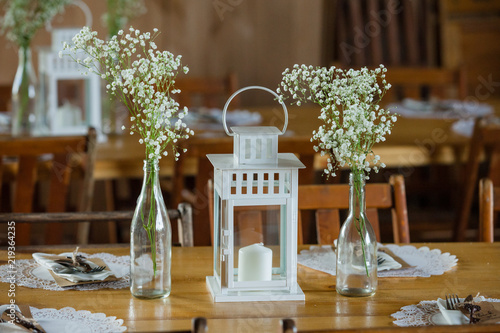 Rustic Lantern And Babys Breath Wedding Centerpieces Buy This