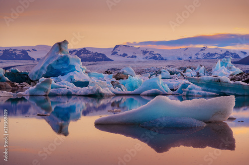 Canvas Prints Glaciers Icebergs in Jokulsarlon glacier lagoon. Vatnajokull National Park, Iceland Summer.Midnight Sun.