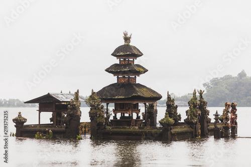 Ulun Danu Bratan temple in Bali in foggy weather