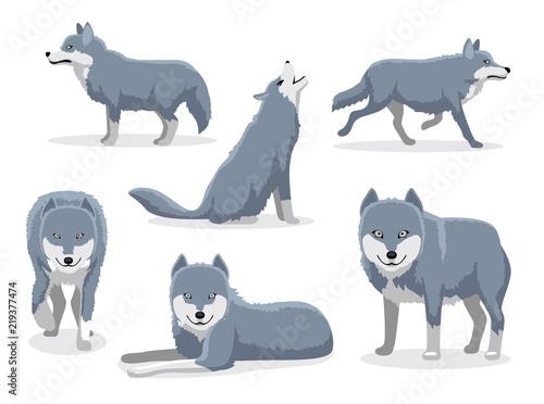 Fototapeta premium Ilustracja wektorowa postać z kreskówki szary wilk