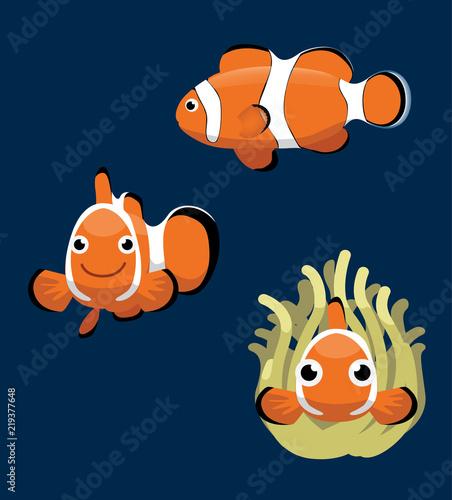 Ocellaris Clownfish Cartoon Vector Illustration Wallpaper Mural