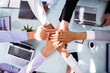 canvas print picture - Group Of Businesspeople Stacking Hands